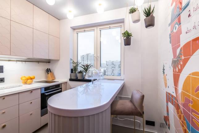барная стойка в интерьере кухни площадью 10 кв