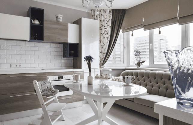 диван в интерьере кухни площадью 10 кв