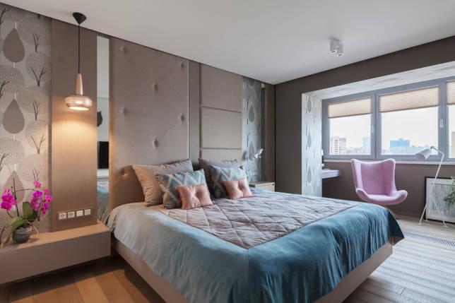 спальня в стиле модерн с балконом