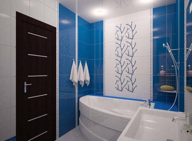 Синяя ванная без унитаза