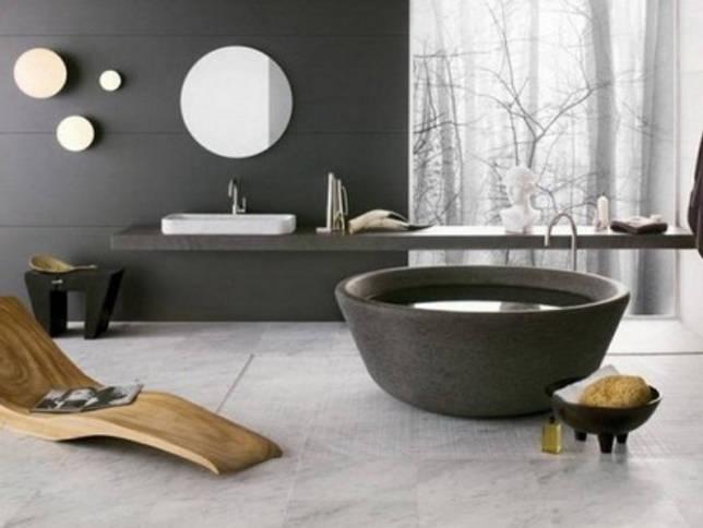 Коричневая ванная в стиле модерн