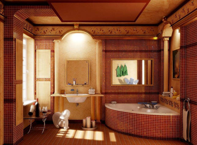 Ванная без унитаза в античном стиле