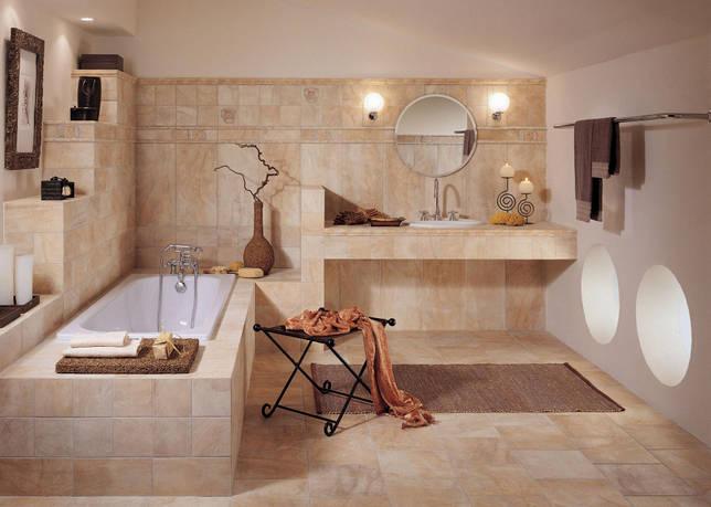 Бежевая ванная комната без унитаза