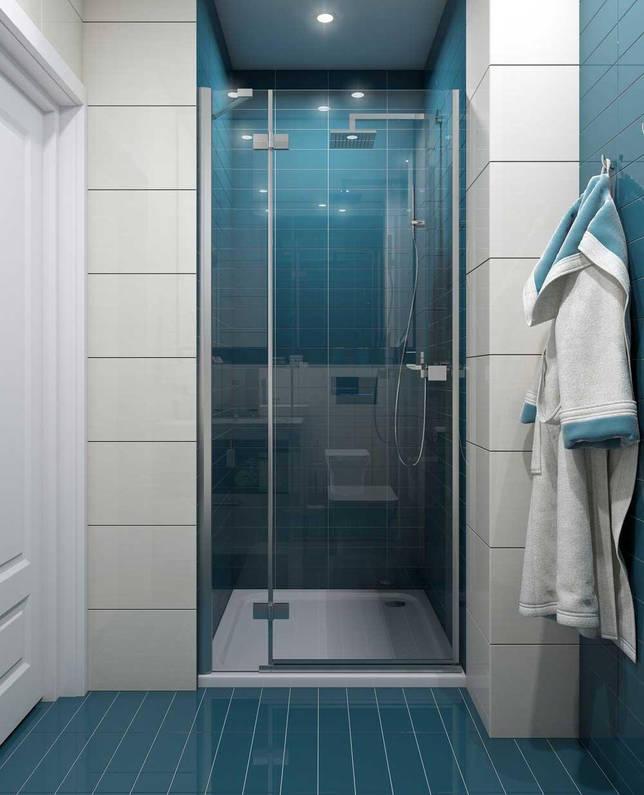 Темно-голубая ванная без унитаза