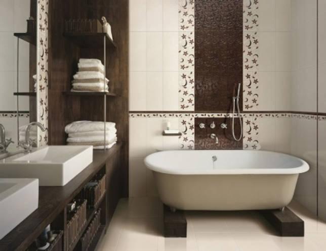 Укладка плитки в ванной для увеличения комнаты