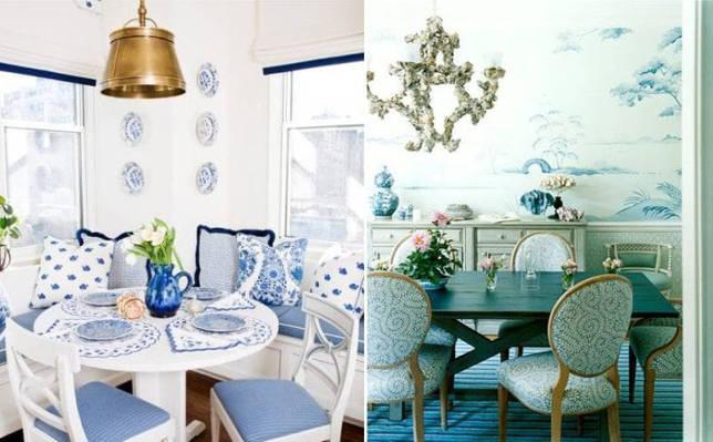 Бело-голубые столовые