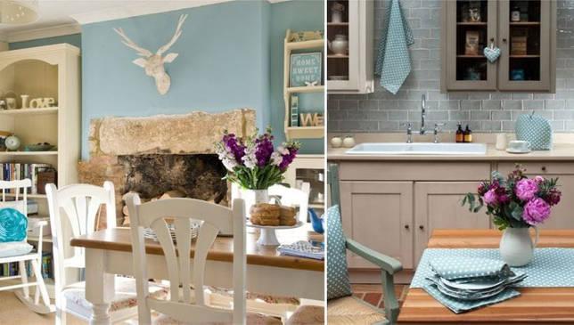 Сочетание бежевого и голубого в интерьере кухни и столовой