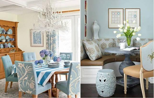 Фактура дерева и голубой цвет в интерьере столовой