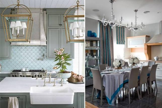 Серый и голубой цвет в интерьере кухни