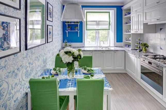 сине-зеленый интерьер кухни