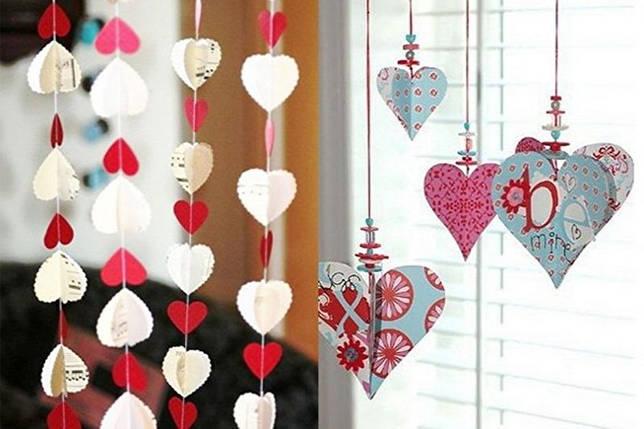 Как украсить квартиру на 14 февраля - Гирлянды-валентинки