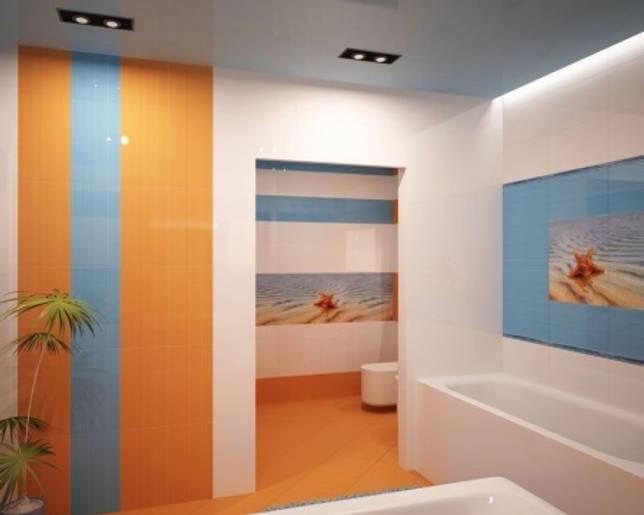Оранжевая с голубым ванная комната