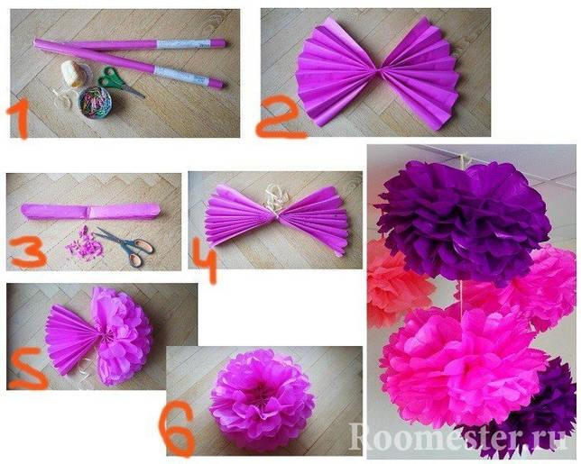 Пример как сделать цветы своими руками