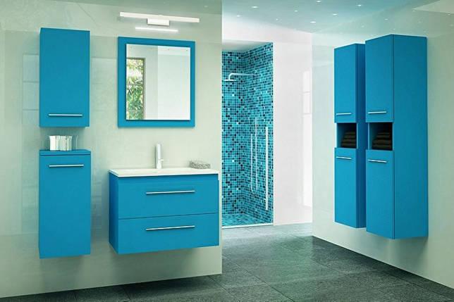 Дизайн синей ванной комнаты - Сантехника и мебель