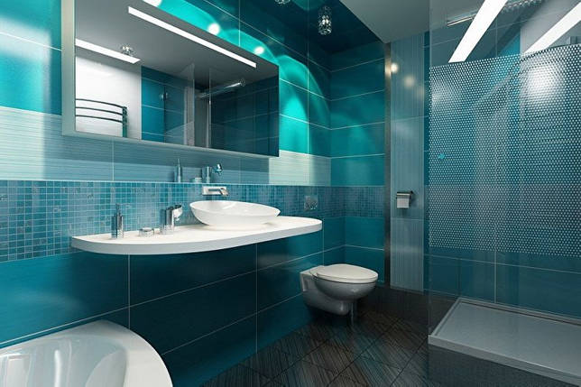 Синяя ванная комната - дизайн интерьера фото
