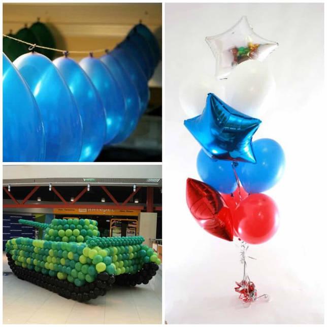 Воздушные шарики к 23 февраля