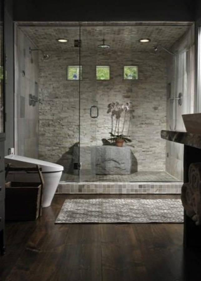 Ванна из камня и каменная плитка интерьере (19 фото)
